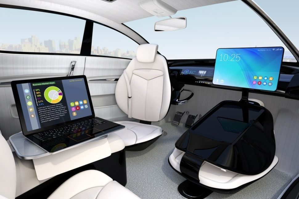 Artist's design of self-driving car interior. Chesky | Shutterstock.com