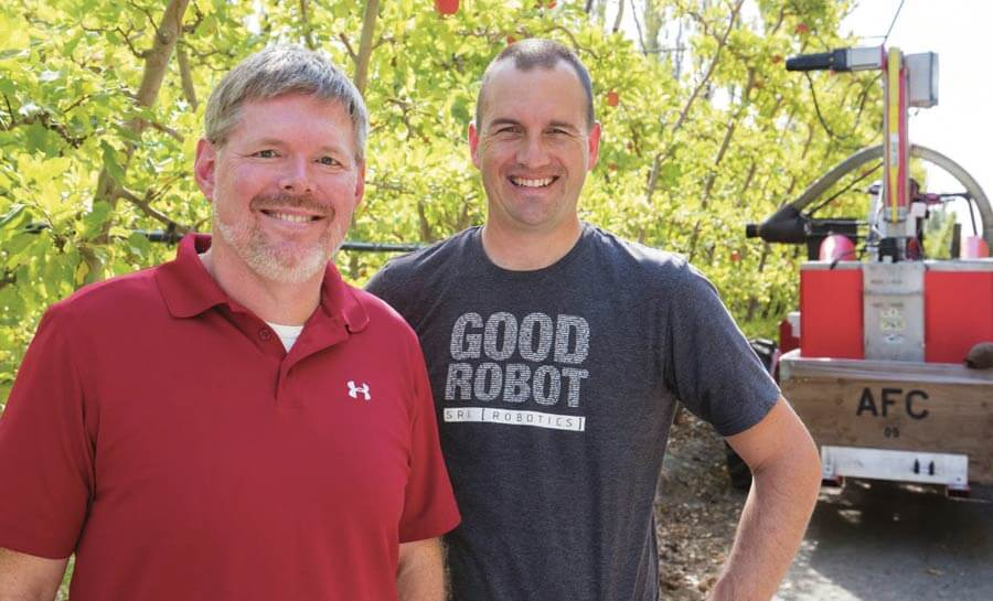 Dan Steere, left, and Curt Salisbury, co-founders of Abundant Robotics Inc. | TJ Mullinax | Good Fruit Grower | goodfruit.com