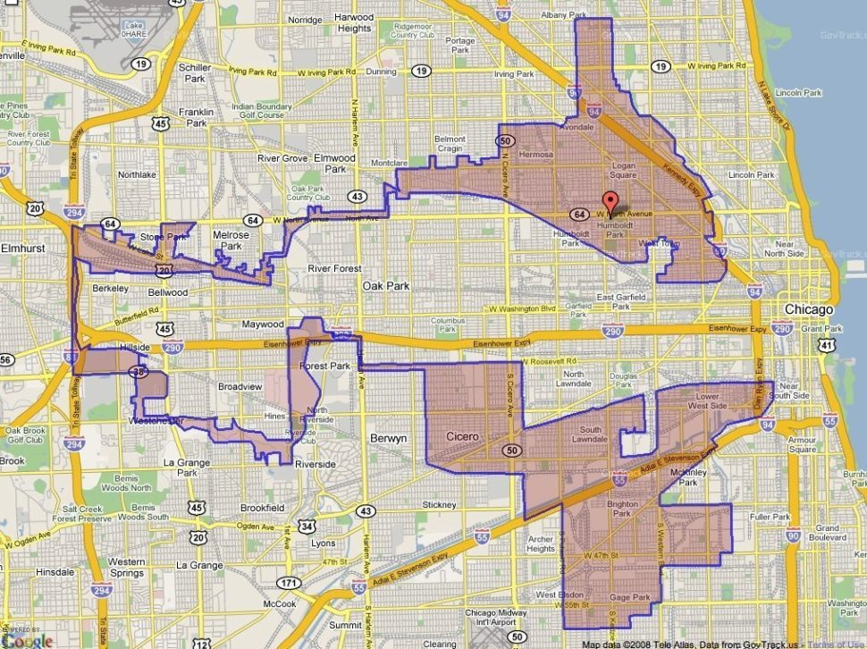 Example of possible gerrymandering | Pinterest.com