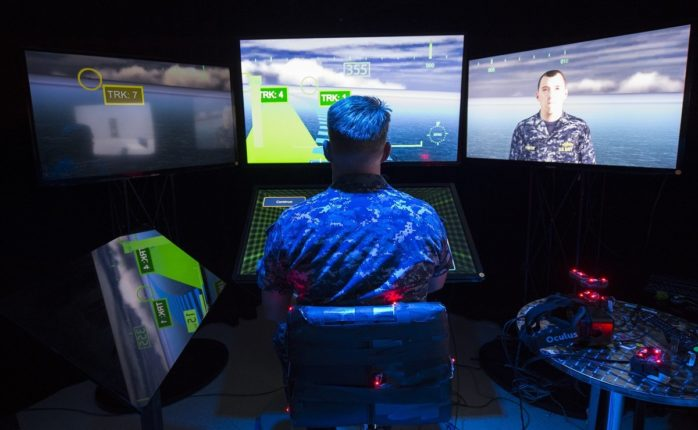 SAN DIEGO, California (Sep. 14, 2015) Lt. Jeff Kee explores the Office of Naval Research (ONR)-sponsored Battlespace Exploitation of Mixed Reality (BEMR) lab located at Space and Naval Warfare Systems Center Pacific. BEMR is designed to showcase and demonstrate cutting edge low cost commercial mixed reality, virtual reality and augmented reality technologies and to provide a facility where warfighters, researchers, government, industry and academia can collaborate. | U.S. Navy photo by John F. Williams | Released