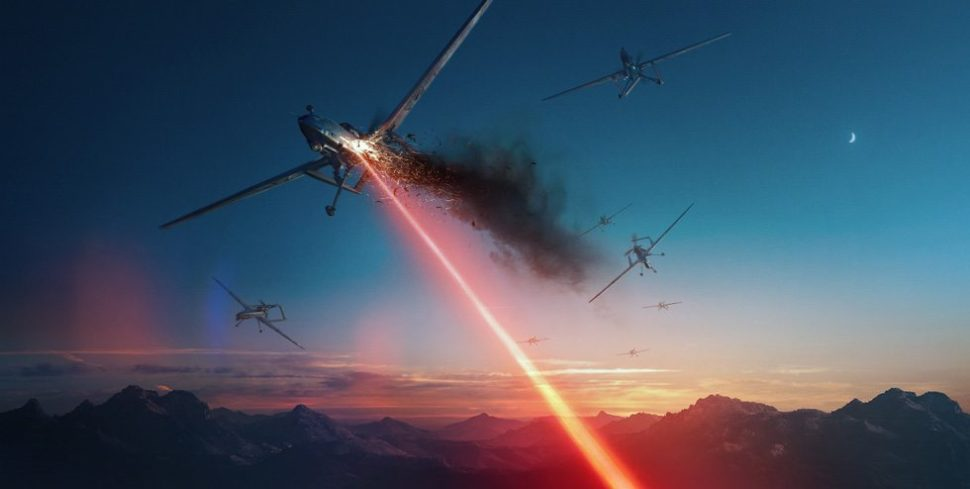 Lockheed Martin Artist Rendering of Directed Energy Weapon taking down a UAV | Lockheedmartin.com