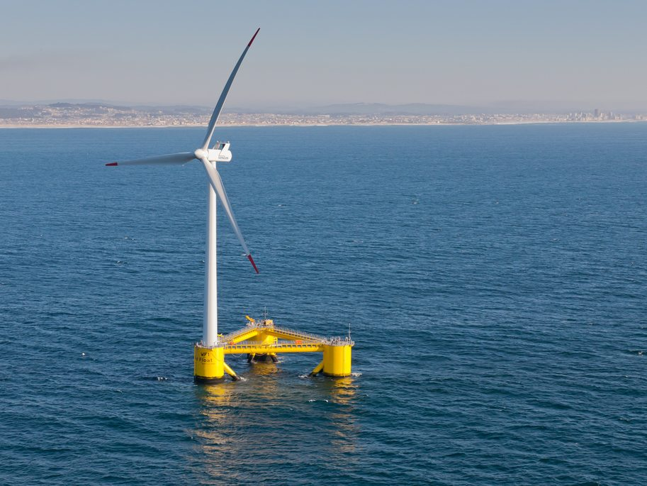 A semi-submersible type floating offshore wind turbine foundation called the WindFloat operating at rated capacity (2MW) approximately 5km offshore of Agucadoura, Portugal. | Wikimedia Commons