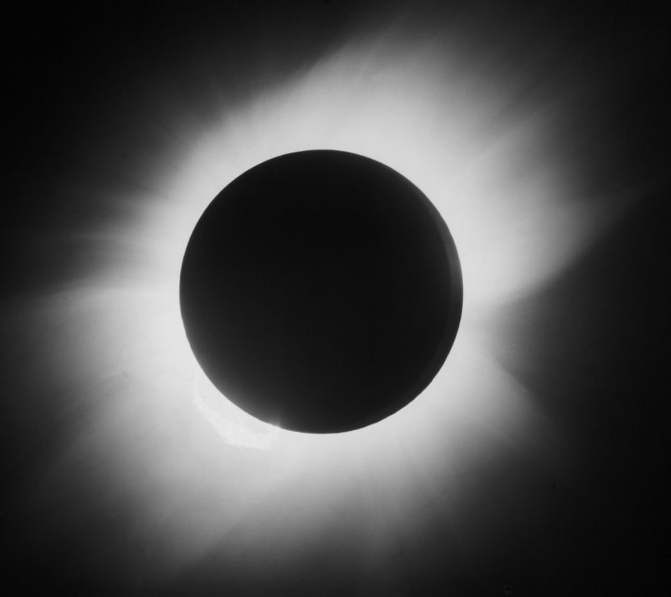 Glass positive photograph of the corona, taken at Sobral in Brazil, with a telescope of 4 inches in aperture and 19 feet focal length. The expedition, organised by physicist Sir Arthur Eddington (1882-1944) of the Royal Observatory, Greenwich, used photographs taken during the eclipse to measure the deflection of star light adjacent to the Sun as predicted by Albert Einstein (1879-1955) in his Theory of Relativity. The year 2005 marked the centenary of publication of Einstein?s Special Relativity Theory which posited that time does not exist at the same rate for everyone and everything. Special Relativity produced the equation which expresses the equivalence between matter and energy: E=mc squared. This image was donated to the Science Museum by the Greenwich Royal Observatory.  | SSPL | Getty