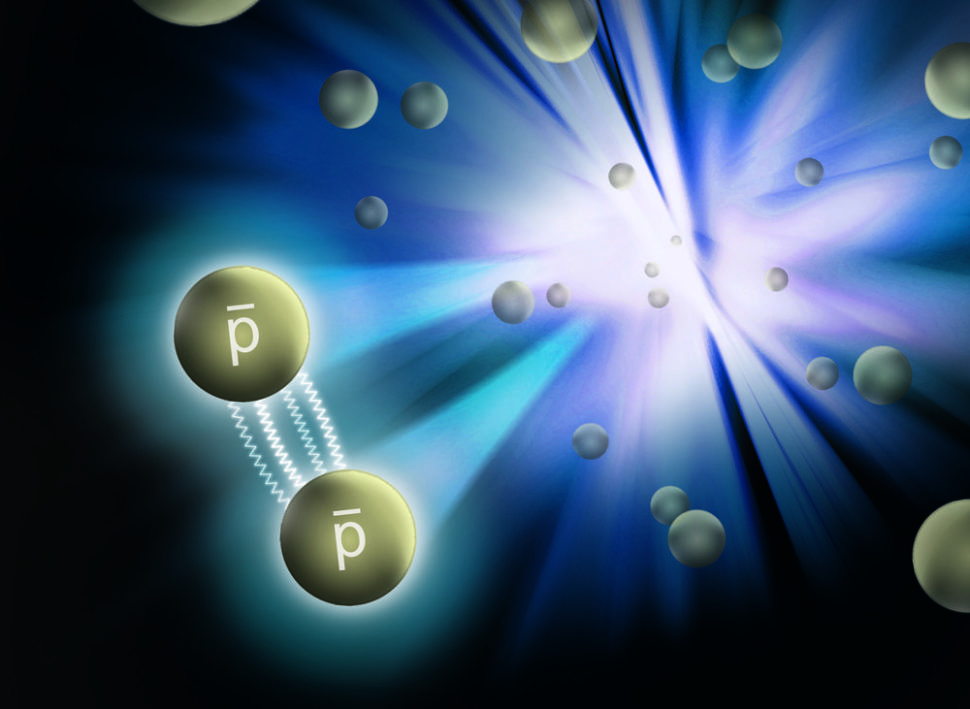 Artist's rendering of two interacting antiprotons emerging from the collision.   Image source Brookhaven National Laboratory