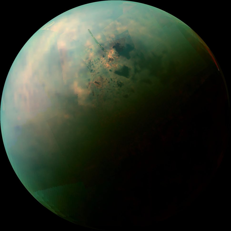 A false-color mosaic reveals hydrocarbon lakes on Titan, Saturn's largest moon. | Nationalgeographic.org | Photo Credit: NASA | JPL-Caltech | University of Arizona | University of Idaho