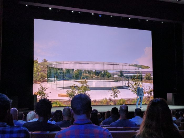 Inside Steve Jobs Theater during the Apple Event
