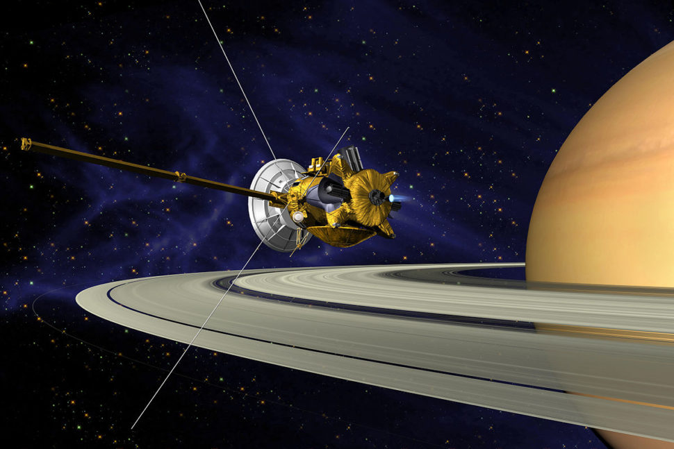 An artists concept of Cassini probe during the Saturn Orbit Insertion (SOI) maneuver | Wikimedia Commons | commons.wikimedia.org