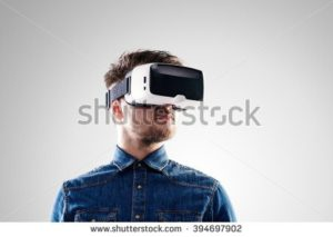 image of man wearing VR headset for potential Tron 3 Hollywood film