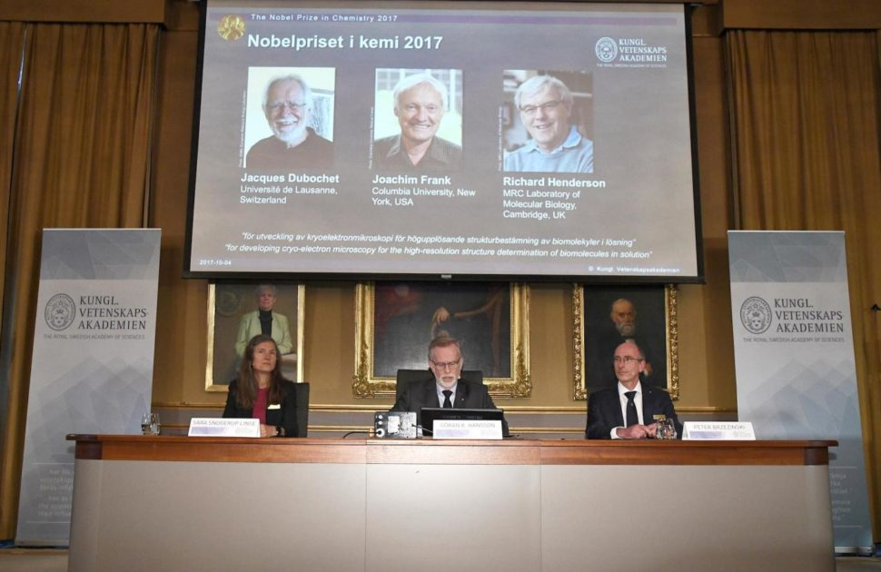 Gunnar von Heijne (C), Secretary of the Nobel Committee for Chemistry 2017, Sara Snogerup Linse, Chair of the Nobel Committee for Chemistry 2017 and Peter Brzezinski, Professor of Biochemistry, announce the winners of the 2017 Nobel Prize in Chemistry during a press conference in Stockholm, Sweden, October 4, 2017 | Image Courtesy of Reuters via Independent UK | independent.co.uk