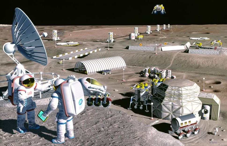 Artist concept illustration of Moon colony | NASA | SAIC | Pat Rawlings | nasa.gov