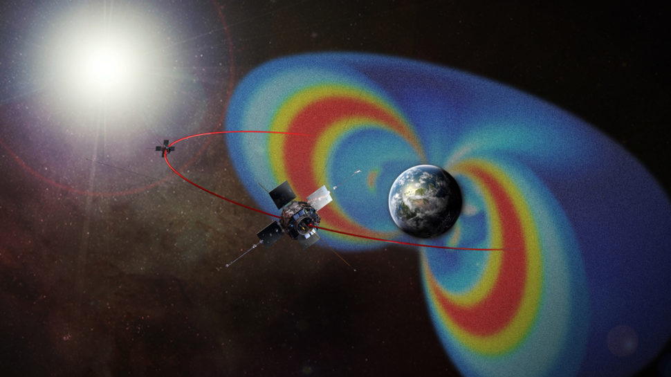 The tiny CREPT instrument will augment the science of NASA's Van Allen Probes, formerly known as the Radiation Belt Storm Probes. This artist's rendering of the Van Allen Probes mission shows the path of its two spacecraft through the radiation belts that surround Earth, which are made visible in false color. | NASA | www.nasa.gov
