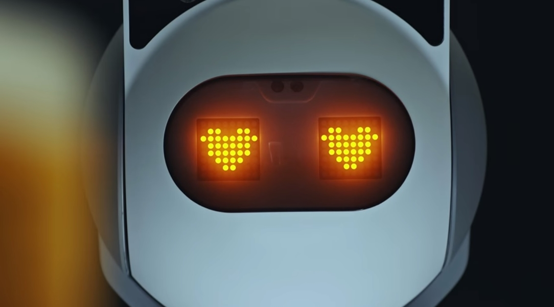 Robot with love hearts for eyes