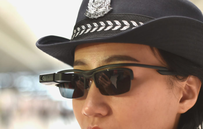 Closeup image of the facial recognition glasses