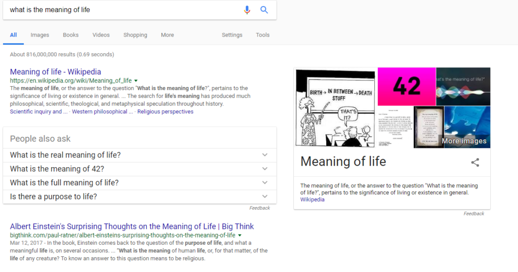 """image of Google search for """"what is the meaning of life"""" to show Google questions for article How to Identify Keyword Opportunities for #1 Ranking on Google"""