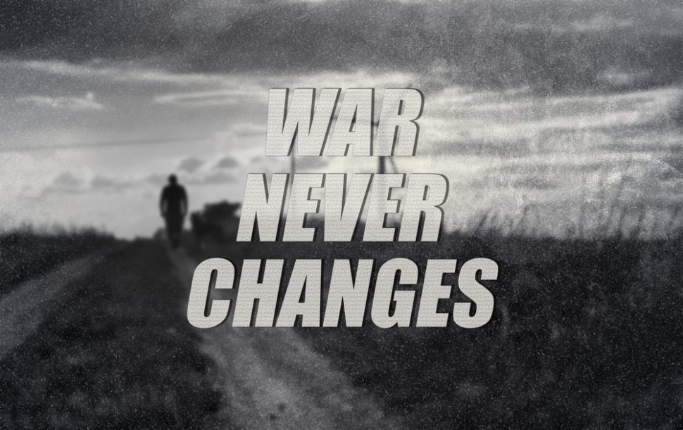 War never changes, the slogan of Fallout | PTDZ | Shutterstock.com
