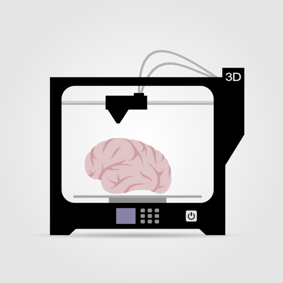 Cartoony rendering of a 3D printer creating a human brain | Banderlog | Shutterstock.com