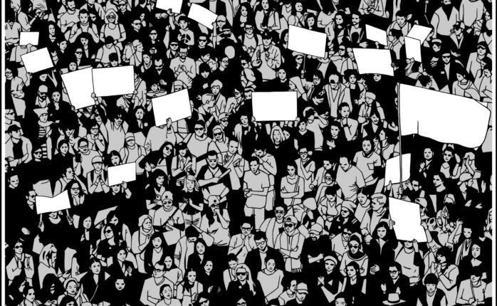 A bunch of people clammoring for human rights. | Rob zs | Shutterstock
