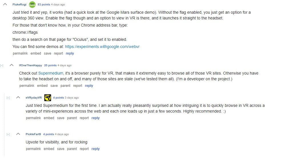 image of Reddit comments for article Redditor Discovers That Google Chrome Supports Oculus Rift