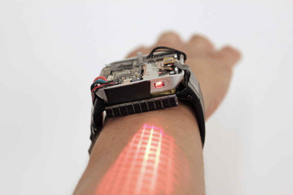The LumiWatch, a skin-projected screen. | Image via Robert Xiao | Carnegie Mellon University