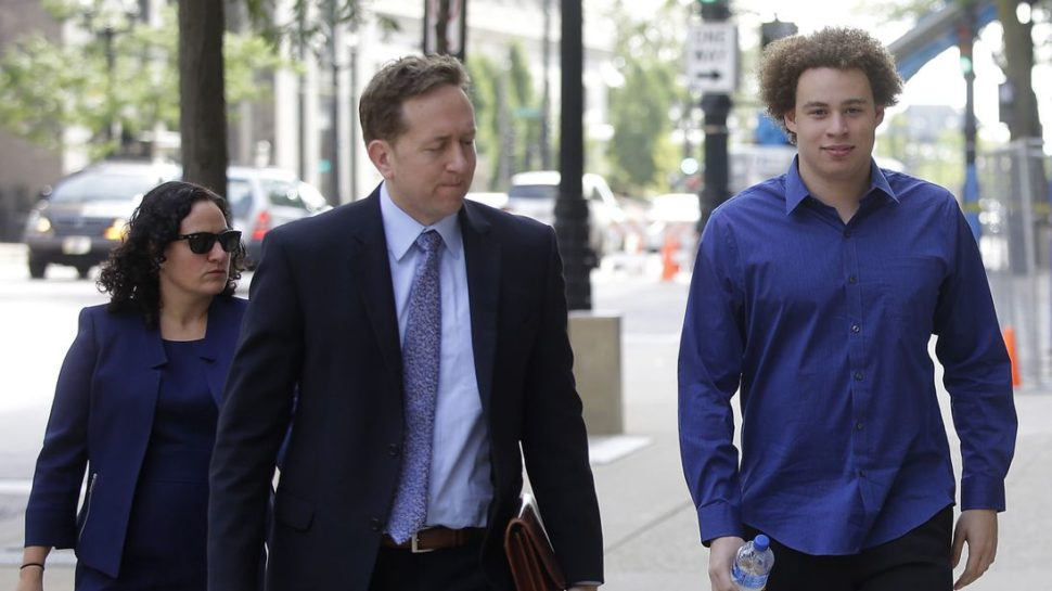 WannaCry Hero, Marcus Hutchins, together with his legal team. | Sky News