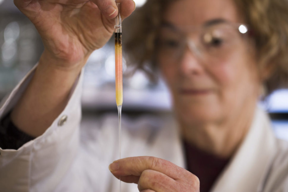 Biogeochemistry Lab Manager Janet Hope from the ANU Research School of Earth Sciences holds a vial of coloured porphyrins (pink coloured liquid), believed to be some of the oldest pigments in the world. | Australia National University