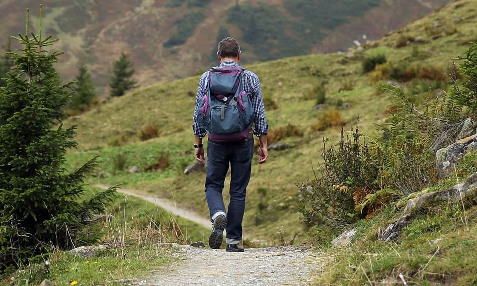 image of a person hiking outdoors for article A Tale of Three Lyme Disease Smartphone Apps