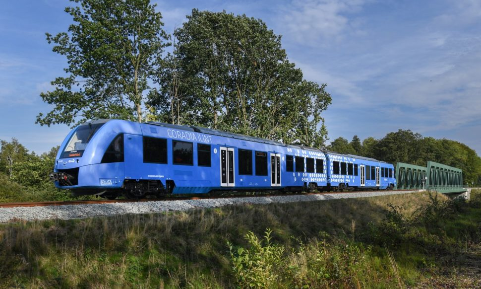 In a world first, Germany has launched two hydrogen-powered trains in Northern Germany. | Image via David Hecker/EPA