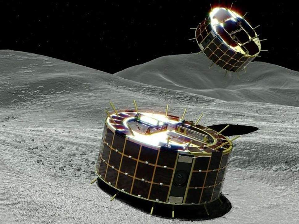 Japan's Space Agency has successfully landed two hopping robots on the surface of an asteroid.   Image courtesy of JAXA.