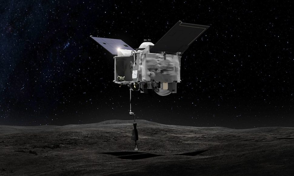 artist's concept shows the Origins Spectral Interpretation Resource Identification Security - Regolith Explorer (OSIRIS-REx) spacecraft contacting the asteroid Bennu with the Touch-And-Go Sample Arm Mechanism or TAGSAM | NASA/Goddard Space Flight Center