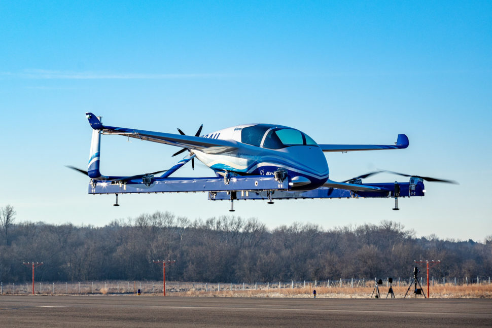 Boeing's PAV prototype hovering successfully above the ground during its first test flight | Boeing