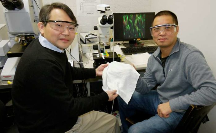 Professor YuHuang Wang (left) and colleague Professor Min Ouyang (right) holding a patch of the new fabric that they developed | Image courtesy of Faye Levine | University of Maryland