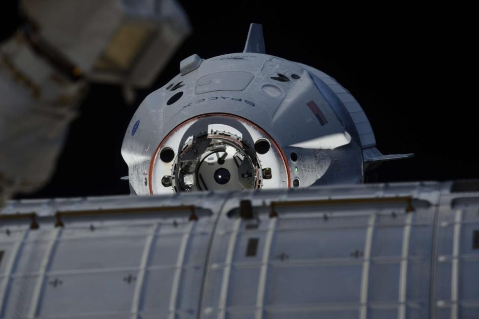 Image captured of the Crew Dragon capsule successfully docking to the ISS. ¦ Image via NASA