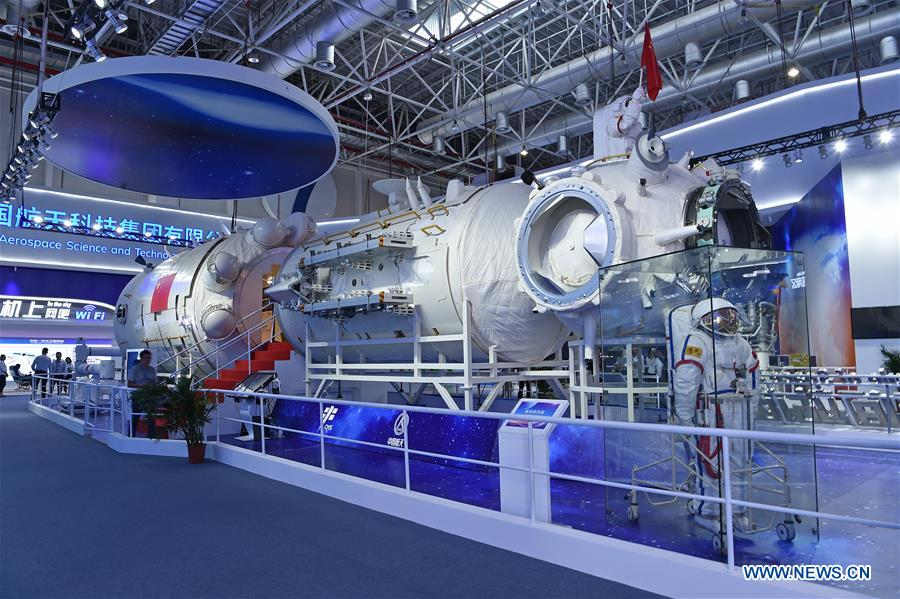 A photo taken of the Chinese Space Station's core module on display during the 12th China International Aviation and Aerospace Exhibition last November 5th | Xinhua