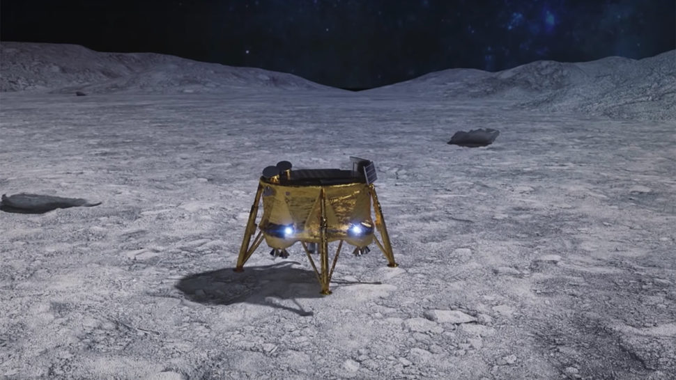 Artists illustration of Beresheet lander on the surface of the moon | NASA | solarsystem.nasa.gov