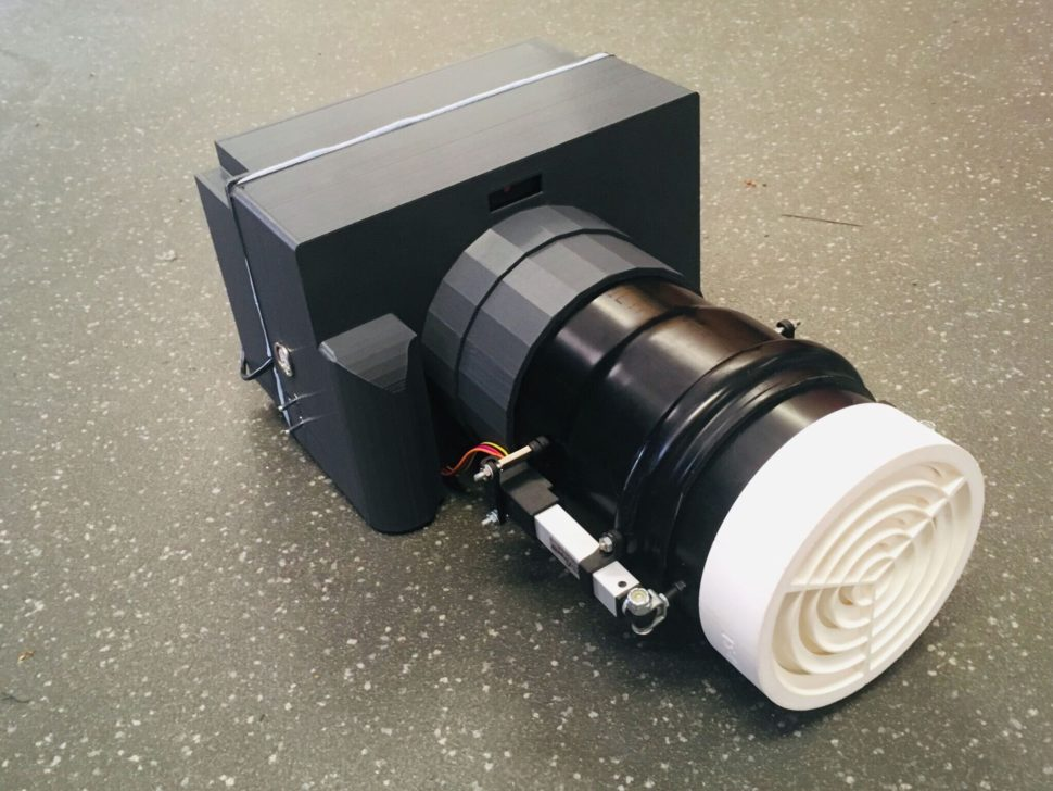 The current version of Sussex's acoustic projector. The speaker is contained in the back, together with the tracking camera and one of the acoustic lenses. The part in white is the second acoustic lens in the telescope. | Image Credit: University of Sussex