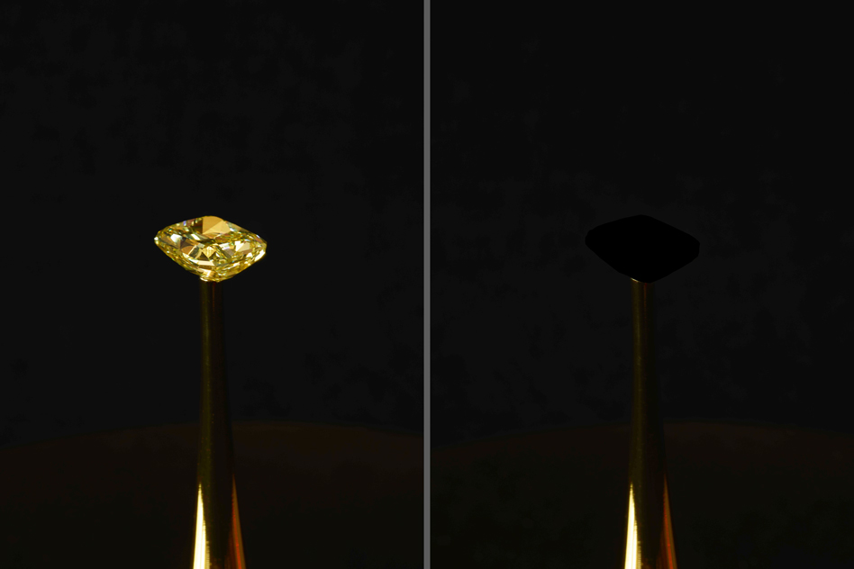 A 16.78-carat natural yellow diamond from LJ West Diamonds (left), is coated with a new carbon nanotube-based material that is the blackest material on record (the covered diamond, shown at right). The diamond is the subject of The Redemption of Vanity, a work of art created by MIT Center for Art, Science, and Technology artist-in-residence Diemut Strebe, in collaboration with MIT engineer Brian Wardle and his lab, on view at the New York Stock Exchange. | Image courtesy of MIT News