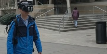 Screenshot from Microsoft Research YouTube video DreamWalker: Substituting Real-World Walking Experiences with a Virtual Reality | Microsoft Research YouTube Channel