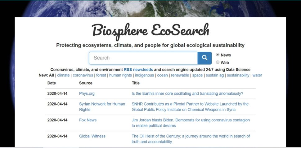 Bisphere EcoSearch Homepage