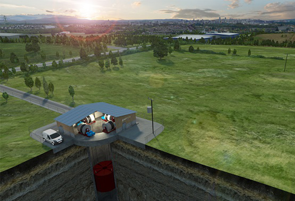 Gravitricity plant visualised within rural edge landscape setting using 3D software./ Gravitricity