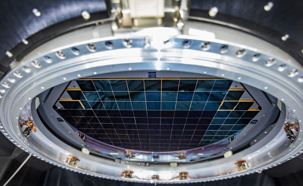 The complete focal plane of the future LSST Camera is more than 2 feet wide and contains 189 individual sensors that will produce 3,200-megapixel images.(Jacqueline Orrell/SLAC National Accelerator Laboratory)